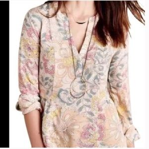 MAEVE Anthropologie Pastel Watercolor Floral Shirt